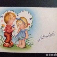 Postales: TARJETAS DE FELICIDADES - PAREJA DE NIÑOS AÑO 1959. Lote 114923495