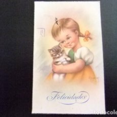 Postales: TARJETAS DE FELICIDADES - NIÑA Y GATITO AÑO 1951. Lote 114927503
