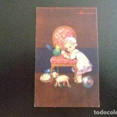 Postales: TARJETAS DE FELICIDADES NENA CON SUS JUGUETES 1934. Lote 114932595