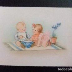 Postales: TARJETAS DE FELICIDADES NENES COMIENDO1955. Lote 114934111