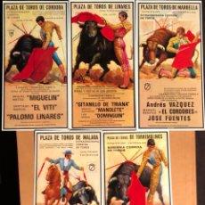 Postales: LOTE DE 5 POSTALES DE CARTELES TAURINOS, MANOLETE, EL VITI, EL CORDOBÉS, DÁMASO GONZÁLEZ, DOMINGUIN. Lote 117772472