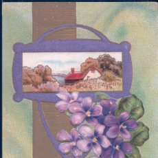 Postkarten - POSTAL A LOVING BIRTHDAY GREETING - FELIZ CUMPLEAÑOS AMOR - FLORES LILAS - LANDSCAPE FLORAL 23 - 117925395