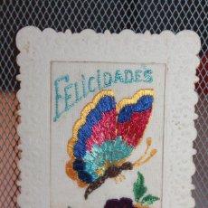 Postales: TARJETA POSTAL DE FELICITACIÓN ESCRITA, BORDADA EN HILO DE SEDA. 13,5 X 9 CM. INFORMACIÓN.. Lote 130120831
