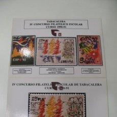 Postales: 2 POSTALES IV CONCURSO FILATELICO ESCOLAR DE TABACALERA CURSO 1990-91. Lote 131851938