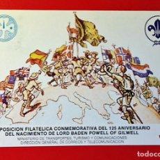 Postales: TARJETA SCOUT CONMEMORATIVA - 125º ANIVERSARIO NACIMIENTO BADEN-POWELL - SCOUTS - ESCULTISMO. Lote 133043142
