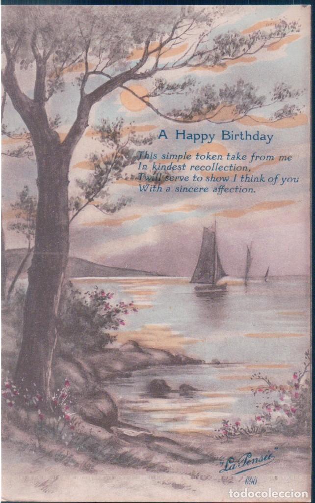 POSTAL A HAPPY BIRTHDAY - FELIZ CUMPLEAÑOS - LA PENSEE - POEMA - PAISAJE Y BARCOS (Postales - Postales Temáticas - Conmemorativas)