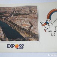 Postales: TARJETA POSTAL EXPO' 92 SEVILLA VISTA AÉREA RÍO GUADALQUIVIR. Lote 142683978