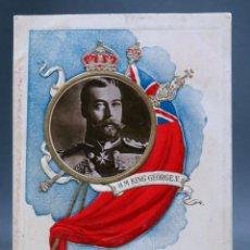 Postales: POSTAL REY JORGE V GEORGE V INGLATERRA TROQUELADA CON FOTO HIMNO CIRCULADA 1913. Lote 170522604