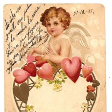 Postales: PRECIOSA POSTAL ROMÁNTICA CON RELIEVE CIRCULADA AÑO 1902. Lote 171252157