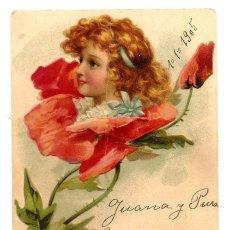 Postales: PRECIOSA POSTAL DE FELICITACIÓN EN RELIEVE MANUSCRITA FECHADA AÑO 1905. Lote 171255222