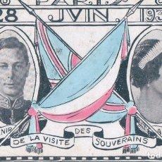 Postales: POSTAL PARIS 28 JUIN 1938 - SOUVENIR DE LA VISITE DES SOUVERAINS ENGLAIS. Lote 175274054