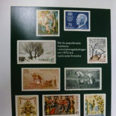 Postales: POSTAL. THE TEN MOST POPULAR STAMPS IN THE CONTEST FOR THE MOST BEAUTIFUL SWEDISH STAMP 1973.. Lote 176897820