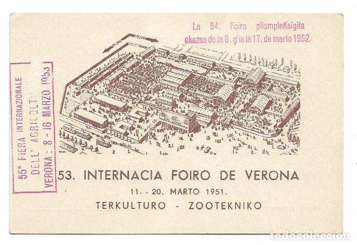 FERIA INTERNACIONAL DE VERONA - ESPERANTO (Postales - Postales Temáticas - Conmemorativas)