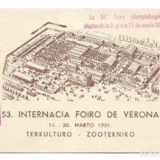 Postales: FERIA INTERNACIONAL DE VERONA - ESPERANTO. Lote 178794818