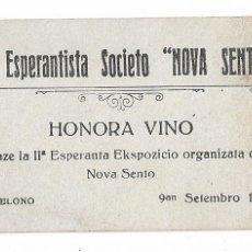Postales: ESPERANTO - SOCIEDAD NOVA SENTO - 8,7 X 5,1 CM.. Lote 178798511