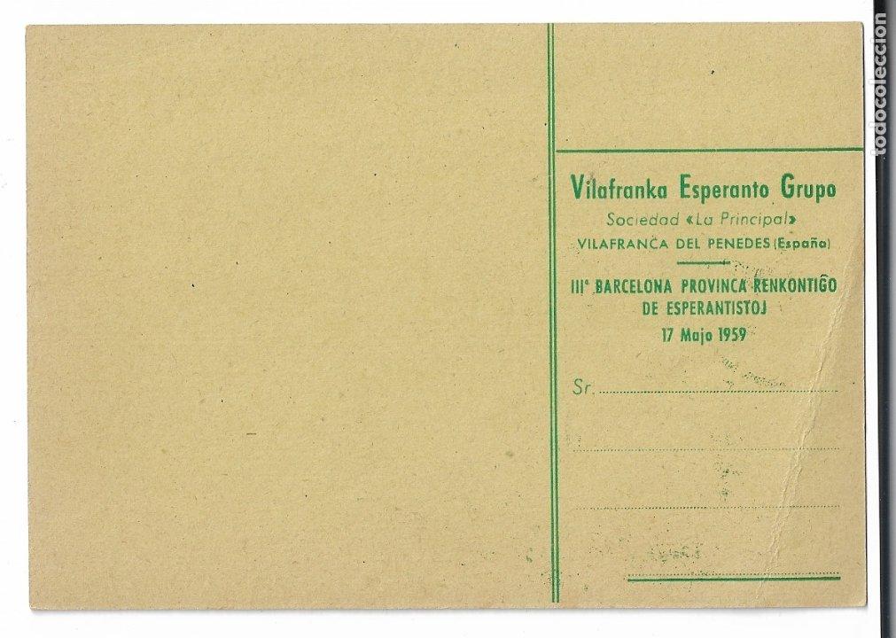 Postales: ESPERANTO - VILAFRANCA DEL PENEDÈS - 1959 - Foto 2 - 178798977