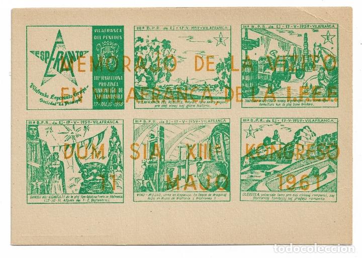 ESPERANTO - VILAFRANCA DEL PENEDÈS - 1959 (Postales - Postales Temáticas - Conmemorativas)