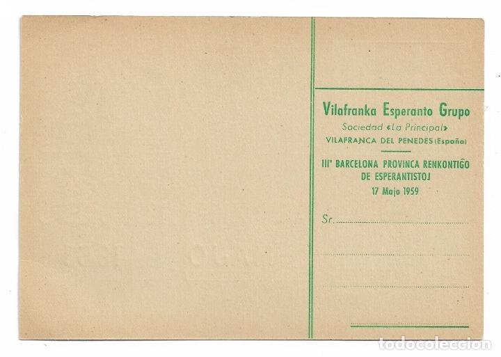 Postales: ESPERANTO - VILAFRANCA DEL PENEDÈS - 1959 - Foto 2 - 178799048