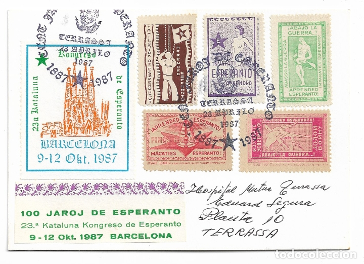 ESPERANTO - TERRASSA - VIÑETAS - BARCELONA (Postales - Postales Temáticas - Conmemorativas)
