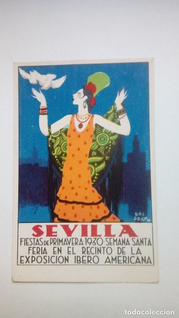 TARJETA POSTAL EXPOSICION SEVILLA 1930 ORIGINAL FIESTAS DE PRIVAMERA EXPOSICION IBERO AMERICANA (Postales - Postales Temáticas - Conmemorativas)