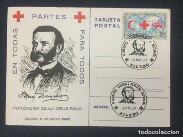 EN TODAS PARA TODOS - FUNDADOR DE LA CRUZ ROJA - BILBAO MAYO 1980 - GURUTZ GORRIAREN EGUNA (Postales - Postales Temáticas - Conmemorativas)