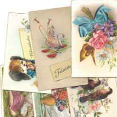 Postales: LOTE 6 POSTALES DE FELICITACIÓN CON DIBUJOS MANUSCRITAS Y SIN CIRCULAR AÑOS 50 TODAS ESPAÑOLAS. Lote 188588887