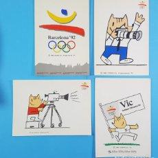 Postales: LOTE 4 POSTALES BARCELONA 92 NUEVAS SIN CIRCULAR Nº 1, 21, 48 Y 50, COBI, VIC. Lote 205567985