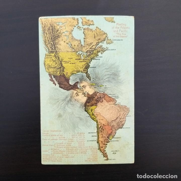 EL ENCUENTRO DEL ATLÁNTICO Y EL PACÍFICO,KISS OF THE OCEANS. POSTAL RELIEVE CANAL DE PANAMÁ.1912-15 (Postales - Postales Temáticas - Conmemorativas)