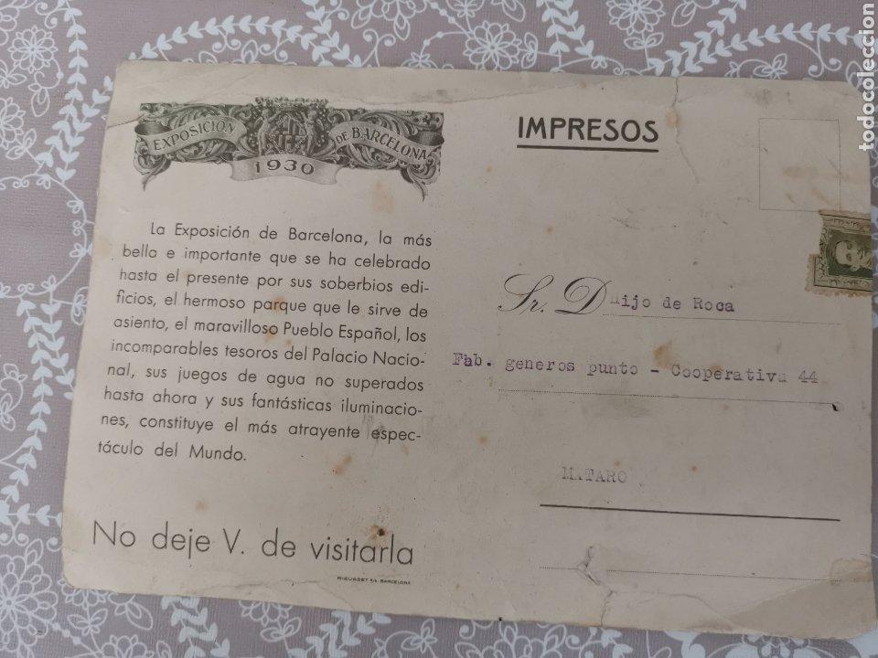 Postales: Postal de La Exposición de Barcelona 1930. Enviada fàbrica Géneros punto. Cooperativa nº44 Mataró - Foto 2 - 217537666