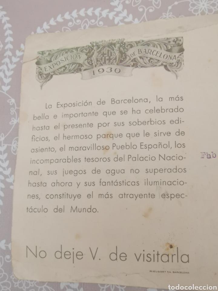 Postales: Postal de La Exposición de Barcelona 1930. Enviada fàbrica Géneros punto. Cooperativa nº44 Mataró - Foto 5 - 217537666