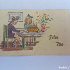 Postales: FELIZ DIA DE CUMPLEAÑOS, HAPPY BIRTHDAY, JOYEUX ANNIVERSAIRE, CIRCA 1950, ED. SAUDADES ARGENTINA. Lote 222186358