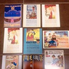 Postales: 9 POSTALES DE PROGRAMAS FERIA DE ALBACETE VARIOS AÑOS. Lote 222303968