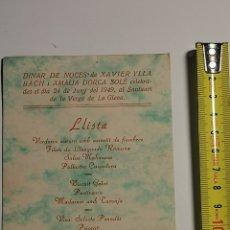 Postales: TARJETA DEL MENÚ DE BODAS DEL SANTUARI LA VERGE DE LA GLEVA DE 1949.. Lote 231287830