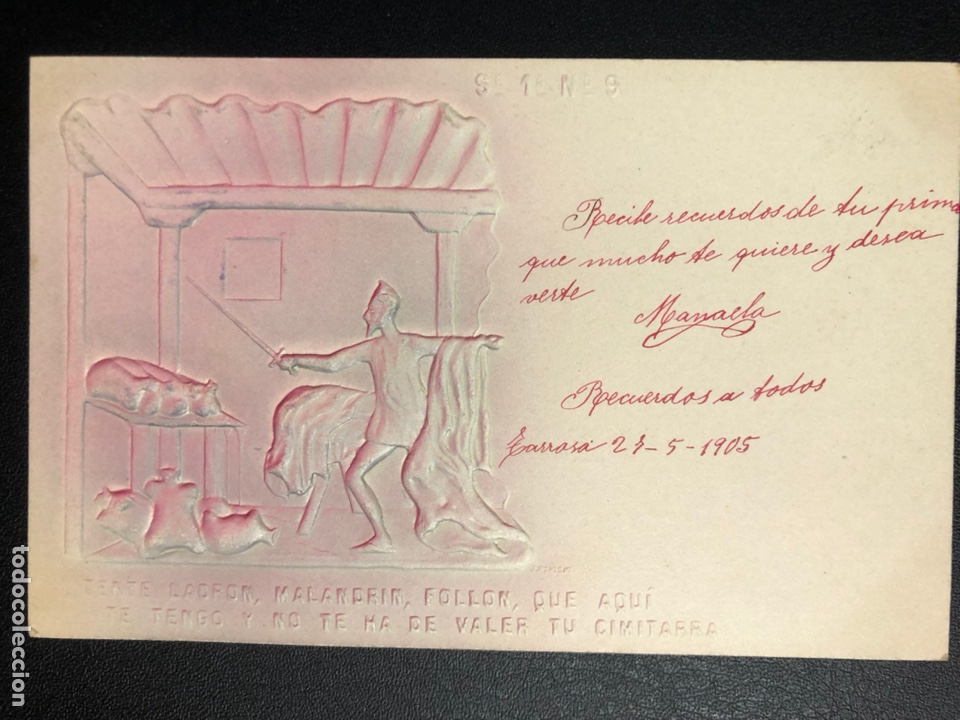 Postales: 10 postales centenario Miguel de Cervantes Saavedra.don quijote de la mancha 1905 - Foto 18 - 245292155