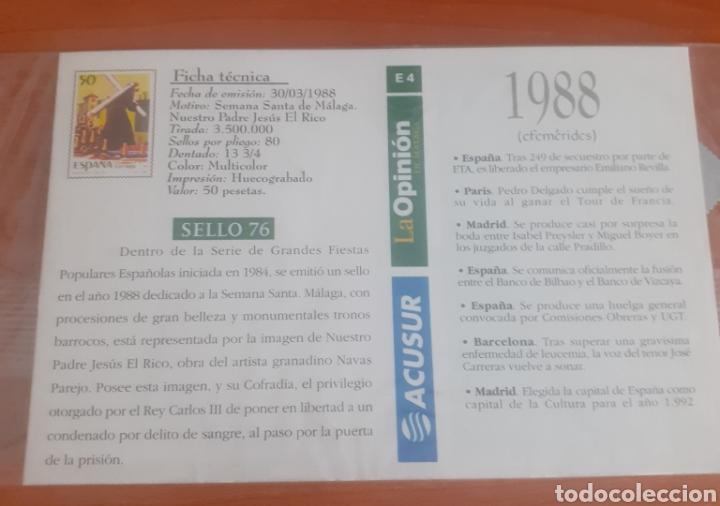 Postales: Sello troquelado de metal semana santa de Málaga 50pesetas postal antequera una visita de la sierra - Foto 2 - 251674935