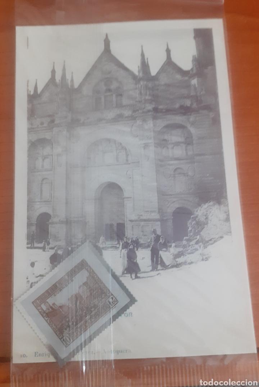 Postales: Sello troquelado de metal proclamación II 10pesetas postal antequera santa María la mayor - Foto 3 - 251682190