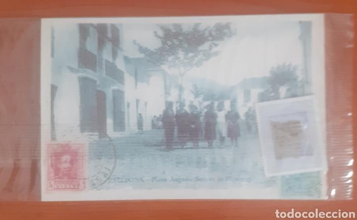 Postales: Sello troquelado de metal balcón de uropa 35pesetas Estepona plaza augusto Suárez de figeroa - Foto 3 - 251685740