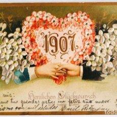 """Postales: ANTIGUA Y PRECIOSA POSTAL """"FELIZ AÑO NUEVO 1907"""". CON ALTORRELIEVE GOFRADO.. Lote 281866828"""