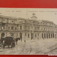 Postales: ANTIGUA POSTAL CYA - EL AYUNTANIENTO FACHADA A LA PLAZA DE SAN FRANCISCO - SEVILLA 1905.. Lote 282974863