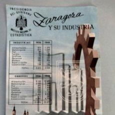 Postales: PRESIDENCIA DEL GOBIERNO INSTITUTO NACIONAL ESTADÍSTICA ZARAGOZA Y SU INDUSTRIA. Lote 291900543