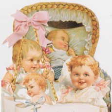 Postales: FELICIDADES, CONGRATULATIONS, ON YOUR NEW ARRIVAL – STREAMERS, POSTAL PUBLICITARIA – VICTORIAN BABY. Lote 295307423