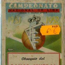 Coleccionismo deportivo: CALENDARIO DEPORTIVO TEMPORADAS 1951-52, OBSEQUIO BANCO CENTRAL. Lote 4795292