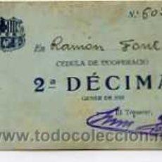 Coleccionismo deportivo: CEDULA DE COOPERACIO 2ª DECIMA GENER DE 1923. Lote 4956951