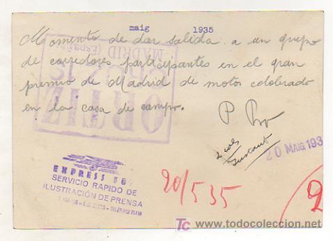 Coleccionismo deportivo: MOTOCICLISMO. FOTOGRAFÍA GRAN PREMIO DE MADRID DE MOTOS. CELEBRADO EN LA CASA DE CAMPO. 1935. - Foto 2 - 15588628