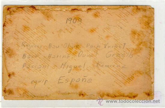 Coleccionismo deportivo: (5169-F)POSTAL FOTOGRAFICA EQUIPO FOOT-BALL F.C.ESPAÑA AÑO 1909 - Foto 2 - 16995336