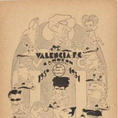 Coleccionismo deportivo: VALENCIA C.F. CAMPEÓN DE VALENCIA 1930-1931. CON CARICATURAS DE LOS FUTBOLISTAS. Lote 22238955