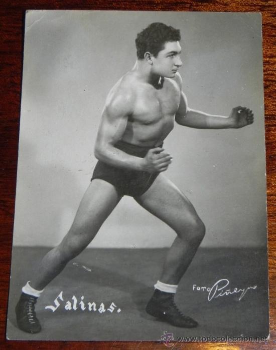 ANTIGUA FOTOGRAFIA DE SALINAS, LUCHA LIBRE, FOTO PEÑEYRO, MADRID, MIDE 11 X 8,5 CMS. (Coleccionismo Deportivo - Postales de otros Deportes )