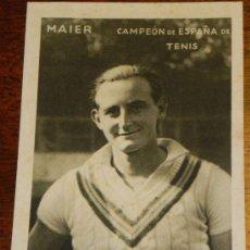 Coleccionismo deportivo: ANTIGUA POSTAL DE MAIER, CAMPEON DE ESPAÑA DE TENIS, REVERSO CON PUBLICIDAD KOLA GRANULADA ASTIER.. Lote 38018714