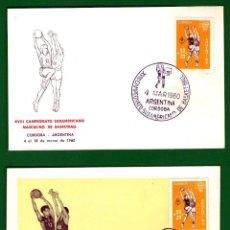 Coleccionismo deportivo: LOTE 2 TARJETAS PRIMER DÍA: CAMPEONATOS AMERICANOS BALONCESTO - ARGENTINA 1959 Y 1960 - SIN CIRCULAR. Lote 52388347