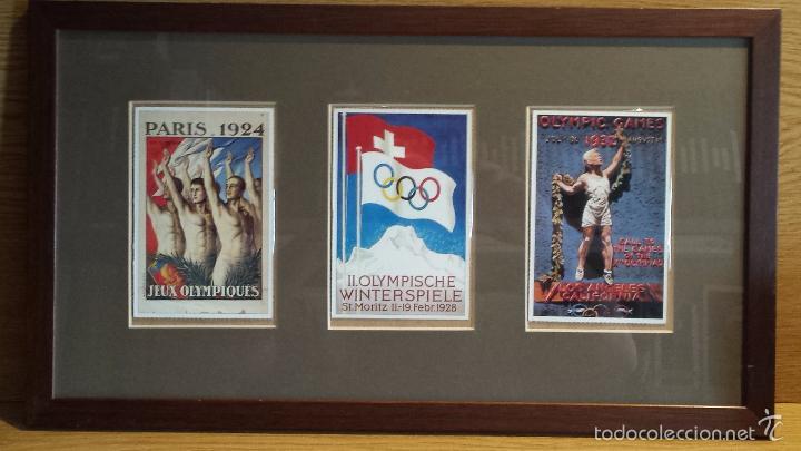 OLIMPIADAS !! CURIOSO CUADRO CON 3 POSTALES DISTINTAS OLIMPIADAS. 51 X 29 CM / BUENA CONSERVACIÓN. (Coleccionismo Deportivo - Postales de otros Deportes )